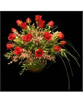 18 Gorgeous Roses in a Large Bubble Bowl Flower Arrangement