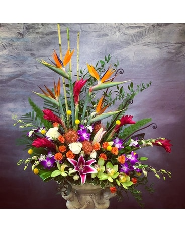Deluxe Tropical Paradise High Style Funeral Arrangement