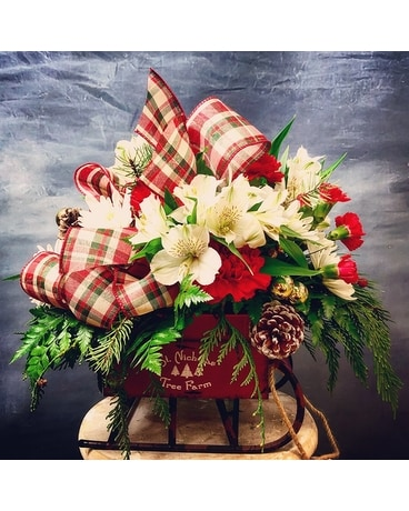 Santa's Favorite Sleigh Flower Arrangement