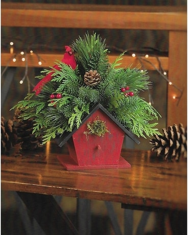 Winter Bird House Flower Arrangement