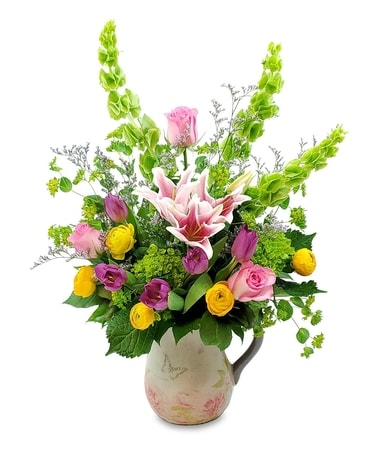Butterfly Garden Pitcher Flower Arrangement
