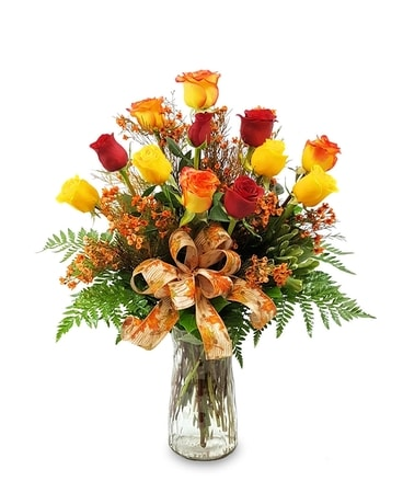 Dozen Fall Roses Flower Arrangement
