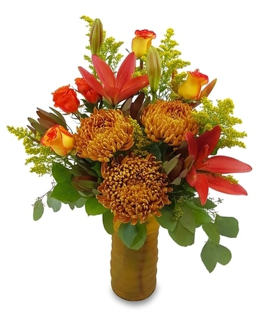 A Sunlit Autumn Flower Arrangement