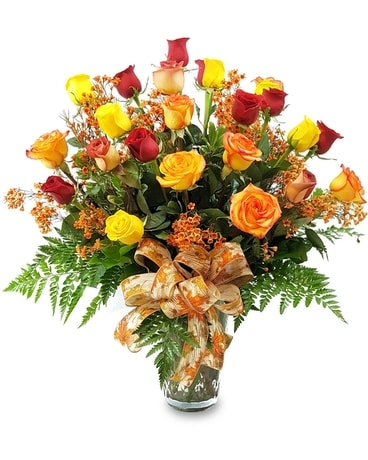 Two Dozen Fall Roses Flower Arrangement