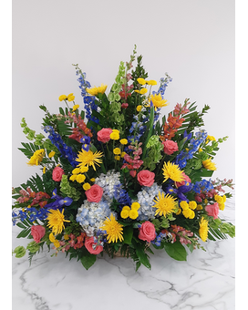 Traditional Colorful Funeral Basket Funeral Arrangement