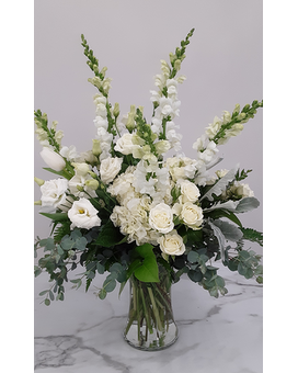 All White Funeral Vase Arrangement Flower Arrangement