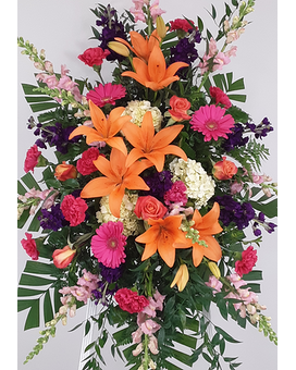 Scented Sunset Easel Spray Funeral Arrangement