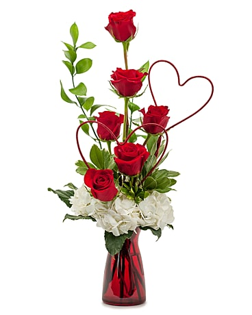 Two Hearts on Fire Flower Arrangement