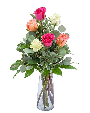 Six Colorful Roses Flower Arrangement