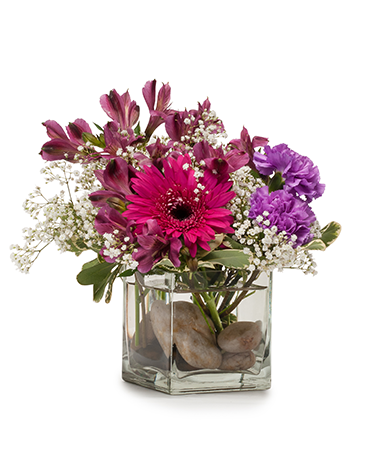 Purple Rocks Flower Arrangement