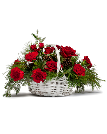 Classic Holiday Basket Flower Arrangement