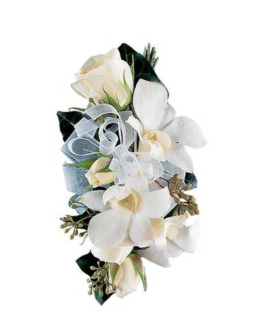 White Rose and Orchid Corsage Flower Arrangement