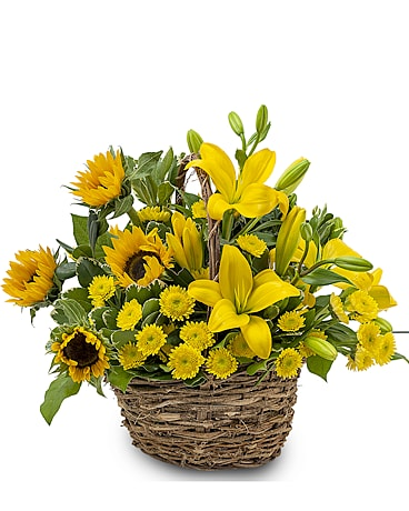 Basket of Sunshine Flower Arrangement
