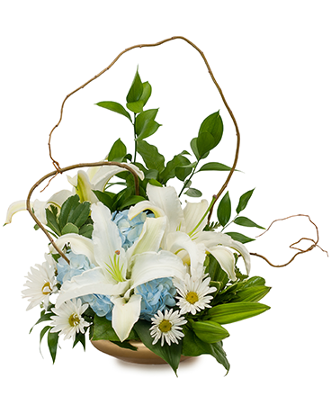 Lilies in Blue Flower Arrangement