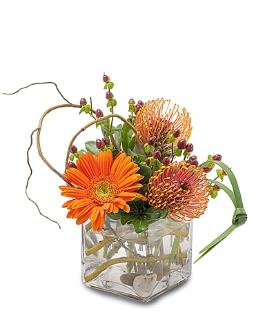 Orange Rocks Flower Arrangement