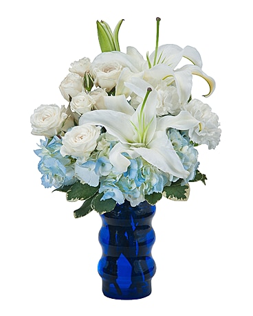 Spring tx flower shop delivering special flowers with love groovy in blue flower arrangement mightylinksfo