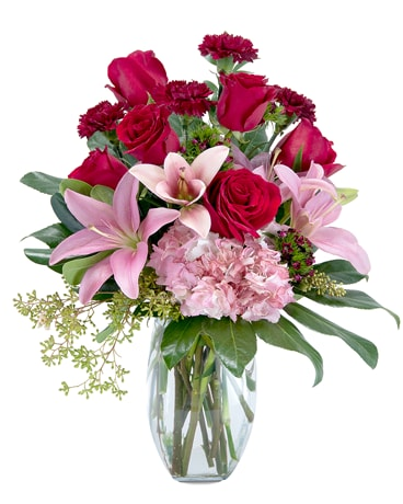 Blushing Rose Flower Arrangement