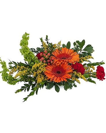Be Thankful-Arrangement with orage gerberas and red carnations