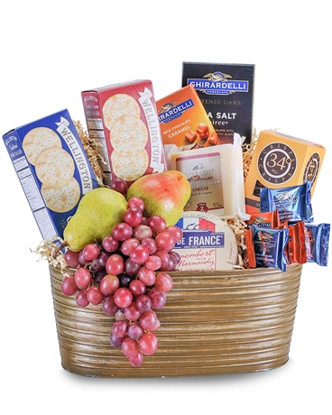 Cheese, Cracker and Fruit Delight Gift Basket