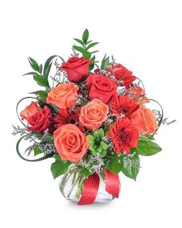 Scarlet Fire Flower Arrangement