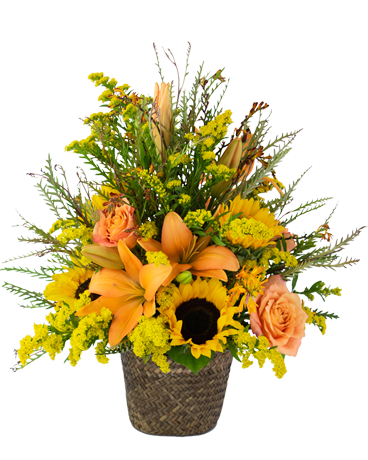 orange and yellow fall flowers basket