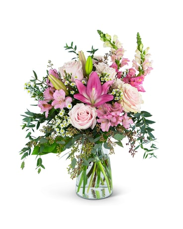 Joyful Pink Meadow Flower Arrangement