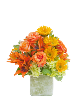 Textured Sunset Vase Flower Arrangement