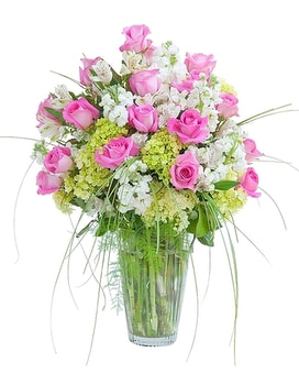 Pink and White Elegance Vase Flower Arrangement