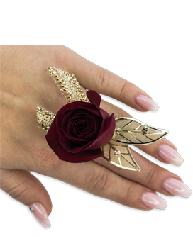 Ruby Metallic Floral Ring Custom product