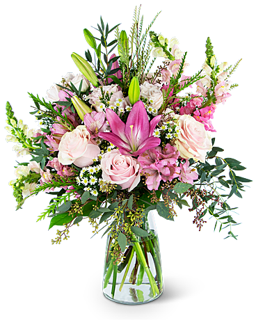 Whispering Pink Meadow Flower Arrangement