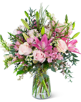 Glorious Pink Meadow ( shown is Deluxe ) Flower Arrangement