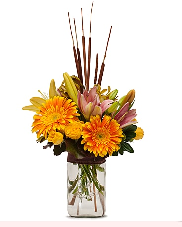 Trio of Orange Flower Arrangement