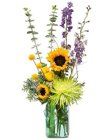 Sunflower in Blue Flower Arrangement
