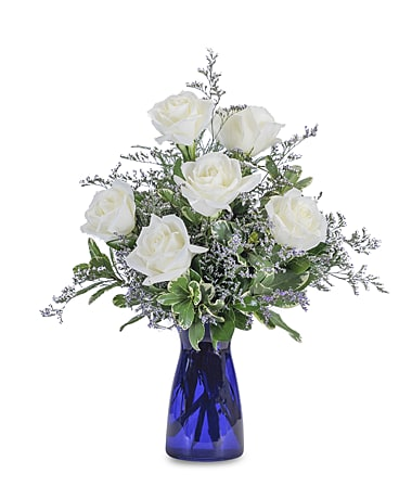 Roses in Blue Flower Arrangement