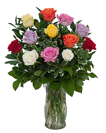 Dozen Roses - Mix it Up! Flower Arrangement
