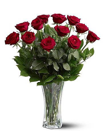 A Premium Dozen Red Roses Flower Arrangement