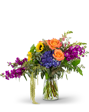 Naturally Prismatic Vase Flower Arrangement