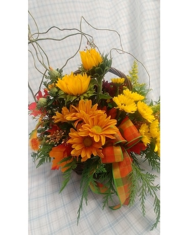 Woodland's Own Fall Basket Flower Arrangement