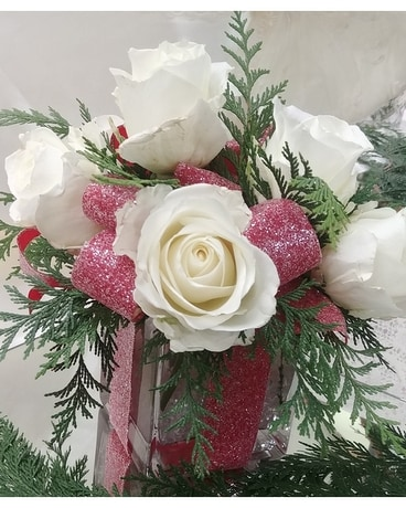 White Rose Cube Package Flower Arrangement