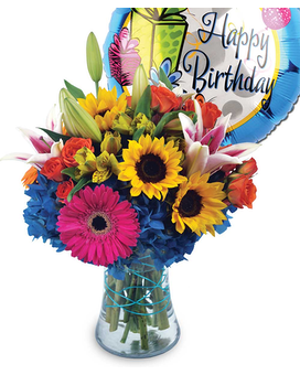 Birthday Blast Bouquet with Mylar Balloon