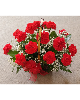Classic Red Carnations with Babysbreath