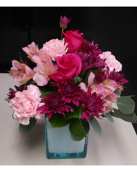Emily - Pink and Teal Flower Arrangement