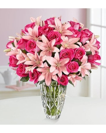 WATERFORD PINK LILY AND ROSE BOUQUET Flower Arrangement