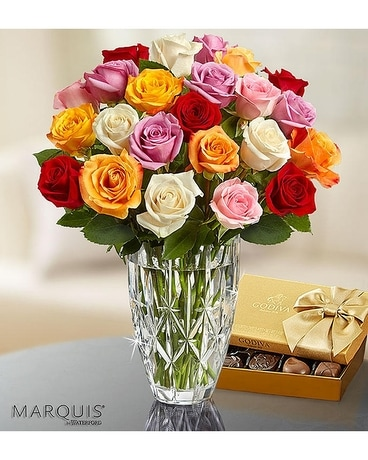 Waterford Favorite Multi Color Roses And Godiva Flower Arrangement