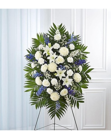 Tribute Blue And White Standing Sympathy Spray Flower Arrangement
