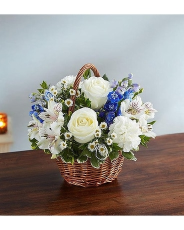Peace, Prayers And Blessings Blue And White Flower Arrangement