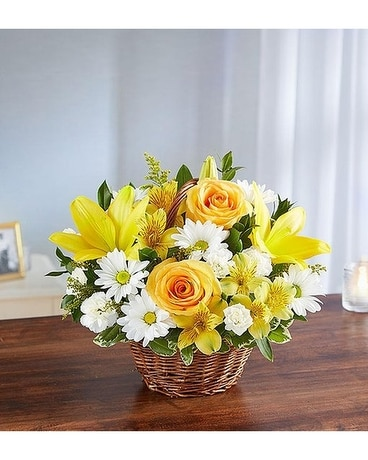 Peace, Prayers And Blessings Yellow And White Flower Arrangement