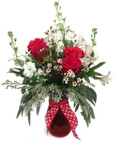 Red, White and Santa Fe Flower Arrangement