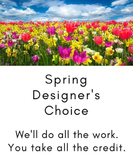 Spring Designer's Choice in a Basket Flower Arrangement