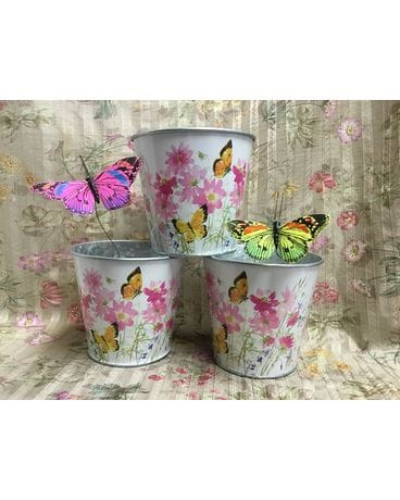 Beautiful Butterfly Tin Flower Arrangement
